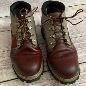 Timberland Canvas & Leather Lace Up Boots Sz 8.5